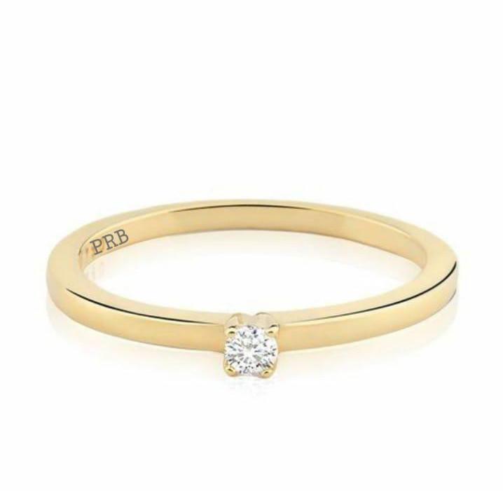 Anel de noivado em ouro 18k  com 15 pontos de diamantes - CÓDIGO 078B