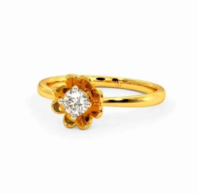 Anel de noivado em ouro 18k  com 1 diamante de 20 pontos - CÓDIGO 028