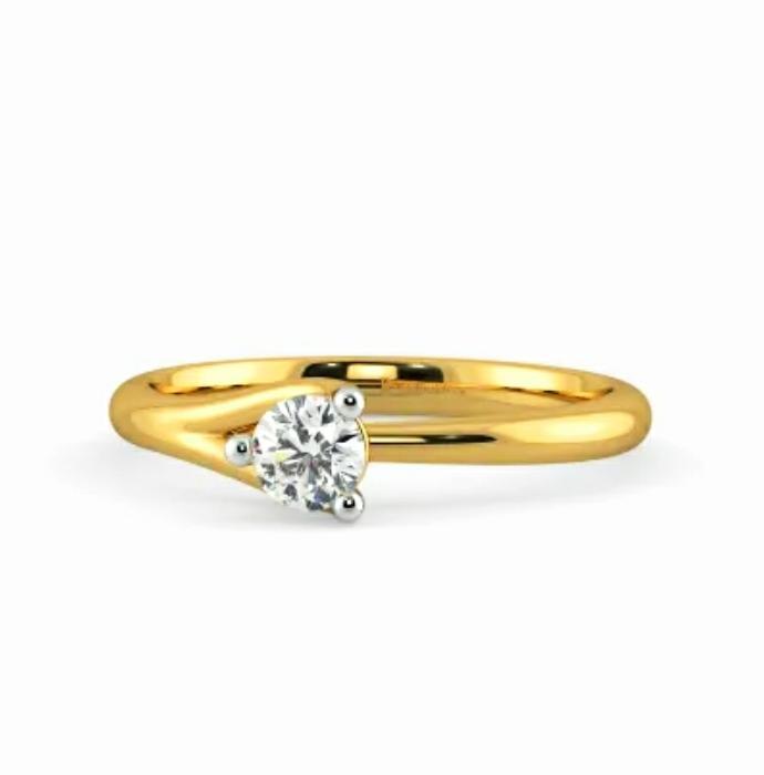 Anel de noivado em ouro 18k  com 1 diamante de 25 pontos - CÓDIGO 029