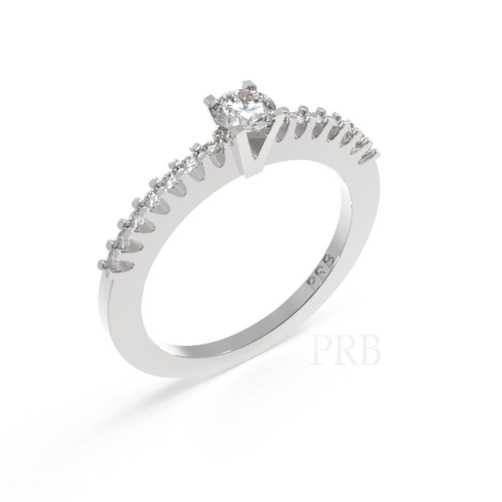 Anel de noivado em ouro 18k  com 20 pontos de diamantes - CÓDIGO 014A