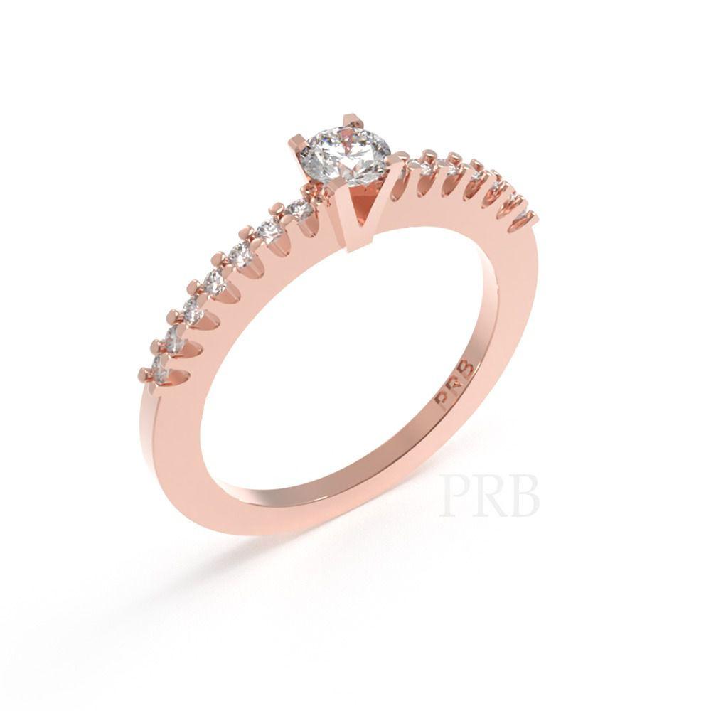 Anel de noivado em ouro 18k  com 25 pontos de diamantes - CÓDIGO 016A
