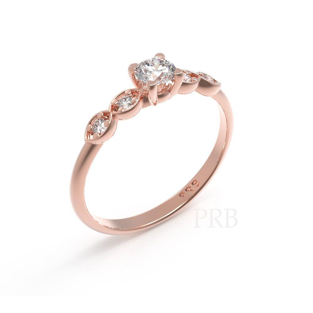 Anel de noivado em ouro 18k  com 28 pontos de diamantes - CÓDIGO 012A