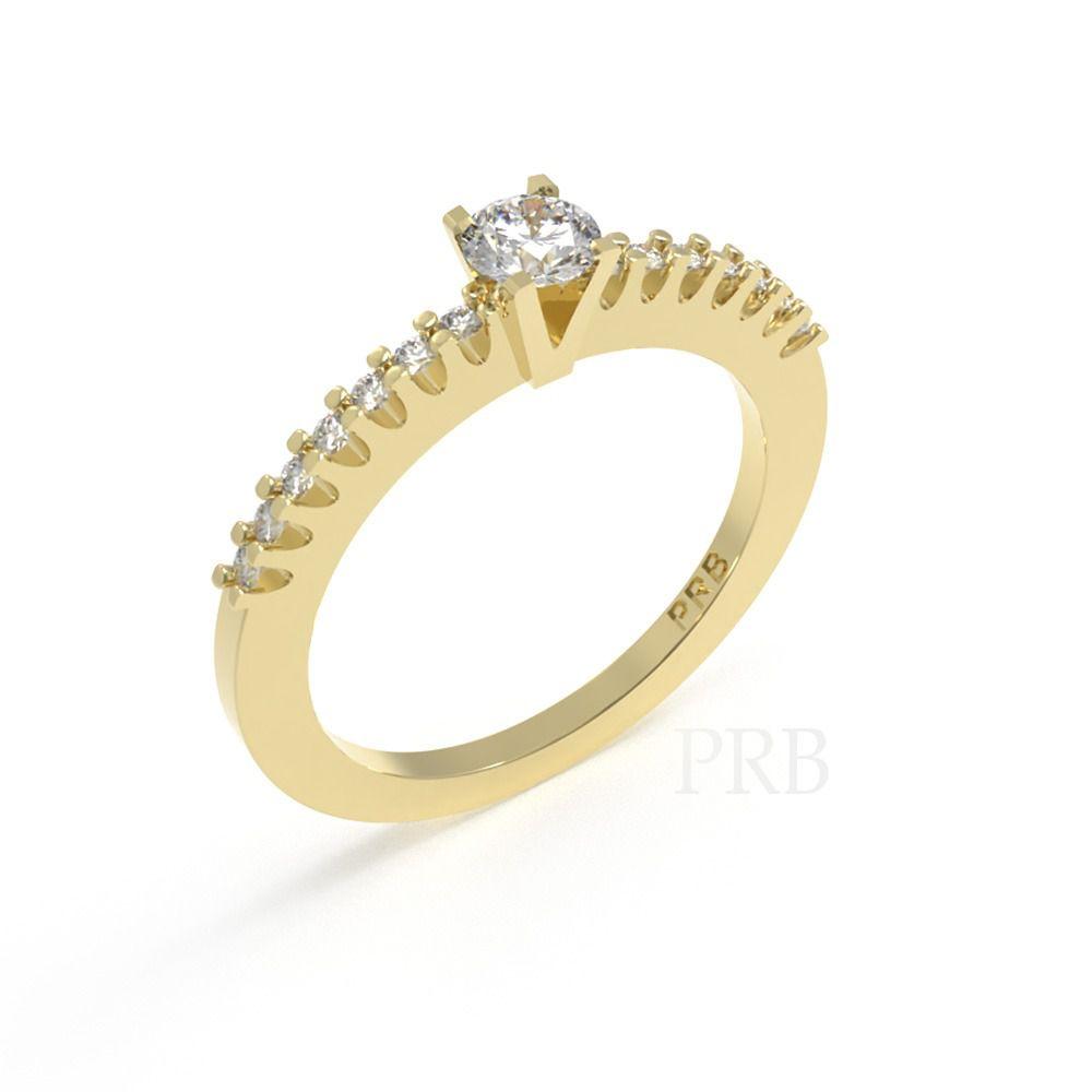 Anel de noivado em ouro 18k  com 30 pontos de diamantes - CÓDIGO 015A