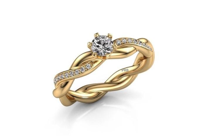 Anel de noivado em ouro 18k  com 31 pontos de diamantes -  CÓDIGO 2404