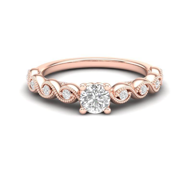 Anel de noivado em ouro 18k  com 32 pontos de diamantes - CÓDIGO 01