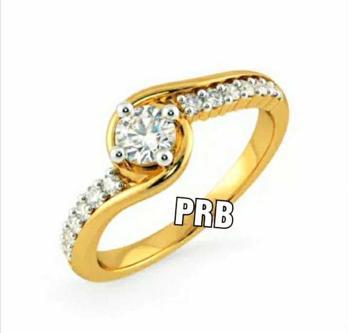 Anel de noivado em ouro 18k  com 48 pontos de diamantes - CÓDIGO 037