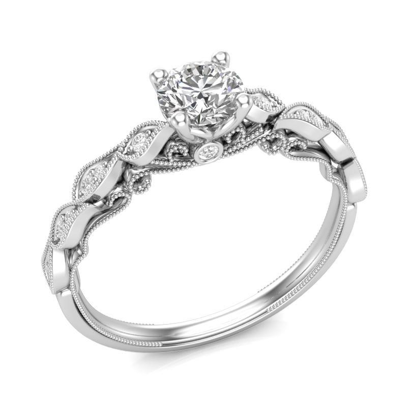 Anel de noivado  em ouro 18k  com 40 pontos de diamantes - CÓDIGO 035A