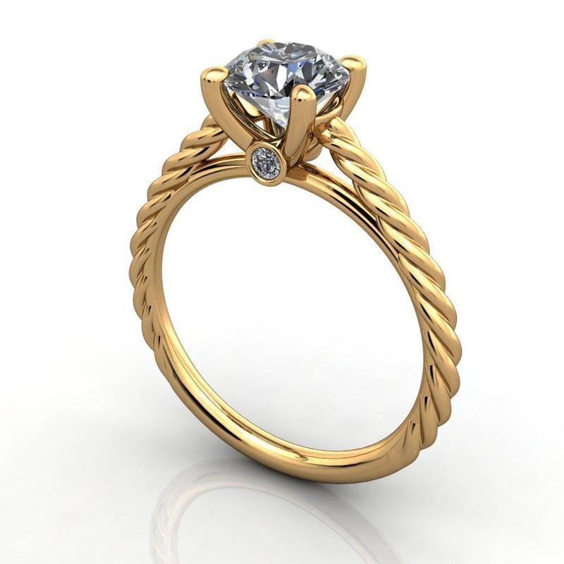 Anel de noivado em ouro 18k  com 40 pontos de diamantes - CÓDIGO 78114