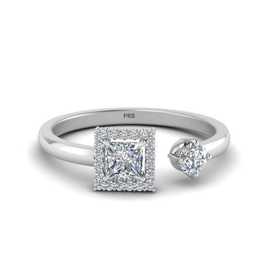 Anel de noivado em ouro 18k  com 40 pontos de diamantes - CÓDIGO 83031