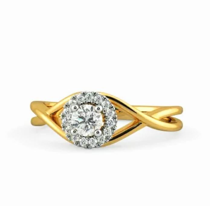 Anel de noivado em ouro 18k  com 46 pontos de diamantes - CÓDIGO 023