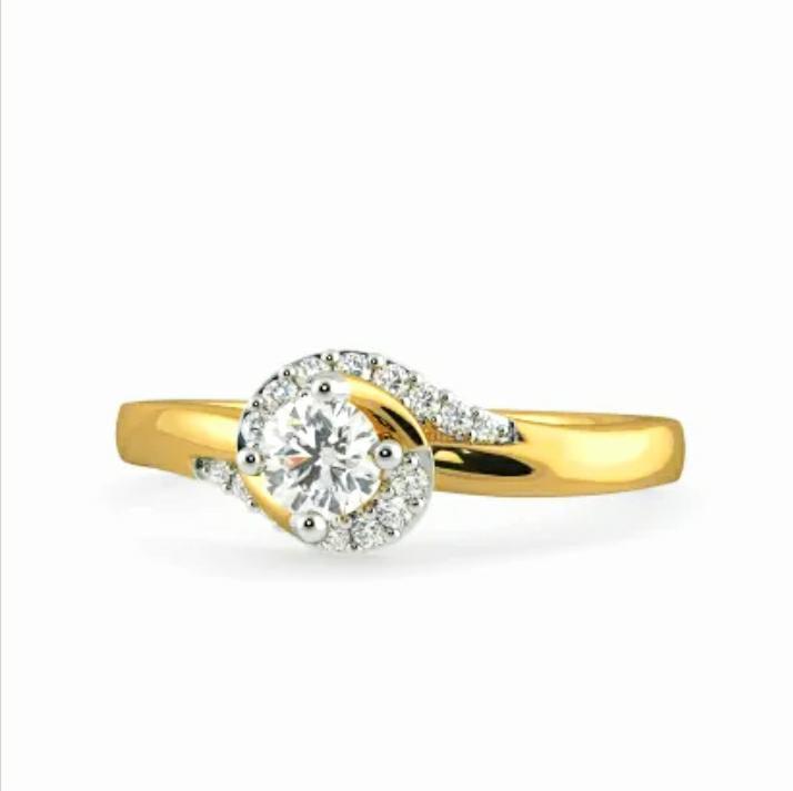 Anel de noivado em ouro 18k  com 46 pontos de diamantes - CÓDIGO 024