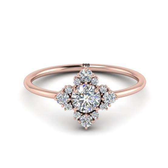 Anel de noivado em ouro 18k  com 51 pontos de diamantes- CÓDIGO 051A