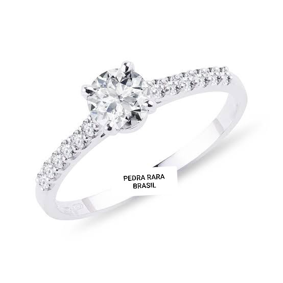 Anel de noivado em ouro 18k  com 54 pontos de diamantes - CÓDIGO SOLI050