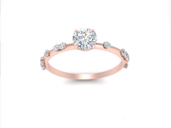 Anel de noivado em ouro 18k  com 56 pontos de diamantes -  CÓDIGO 04