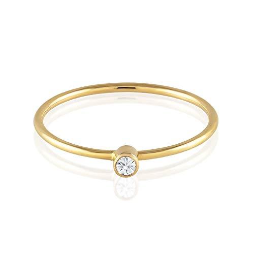 Anel de noivado em ouro 18k  com 5 pontos de diamantes - CÓDIGO 0161A