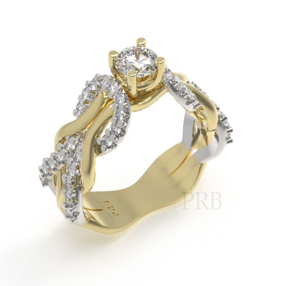 Anel de noivado em ouro 18k  com 70 pontos de diamantes - CÓDIGO 013A