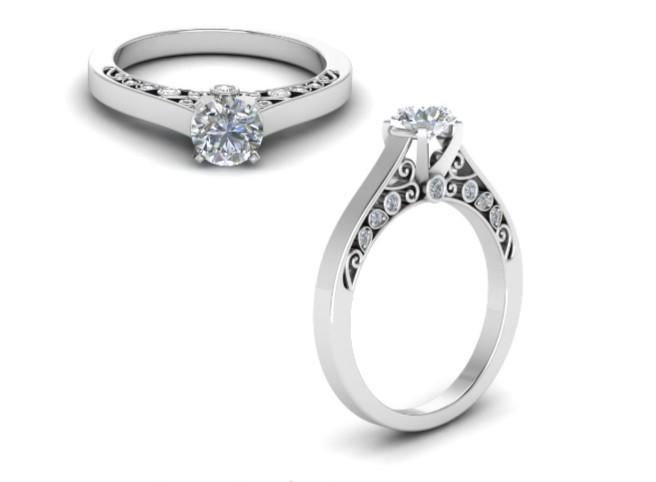 Anel de noivado em ouro 18k  com 70 pontos de diamantes - CÓDIGO 50114