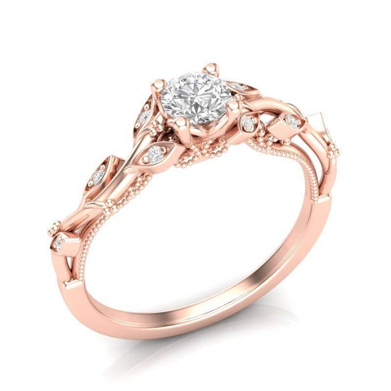 Anel de noivado em ouro 18k  com 74 pontos de diamantes - CÓDIGO 057