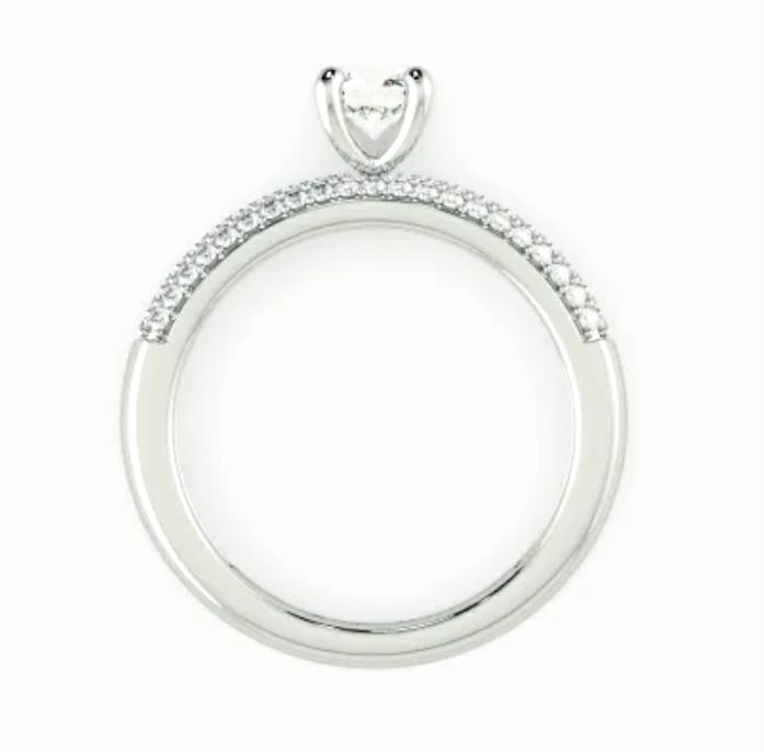 Anel de noivado em ouro 18k  com 91 pontos de diamantes - CÓDIGO 040