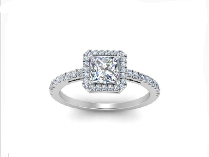 Anel de noivado em ouro 18k  com 94 pontos de diamantes - CÓDIGO 7411A