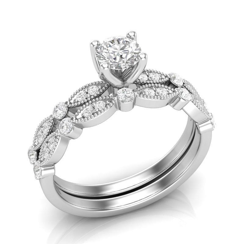 Anel de noivado em ouro 18k com aparador, 60 pontos de diamantes - CÓDIGO 0312