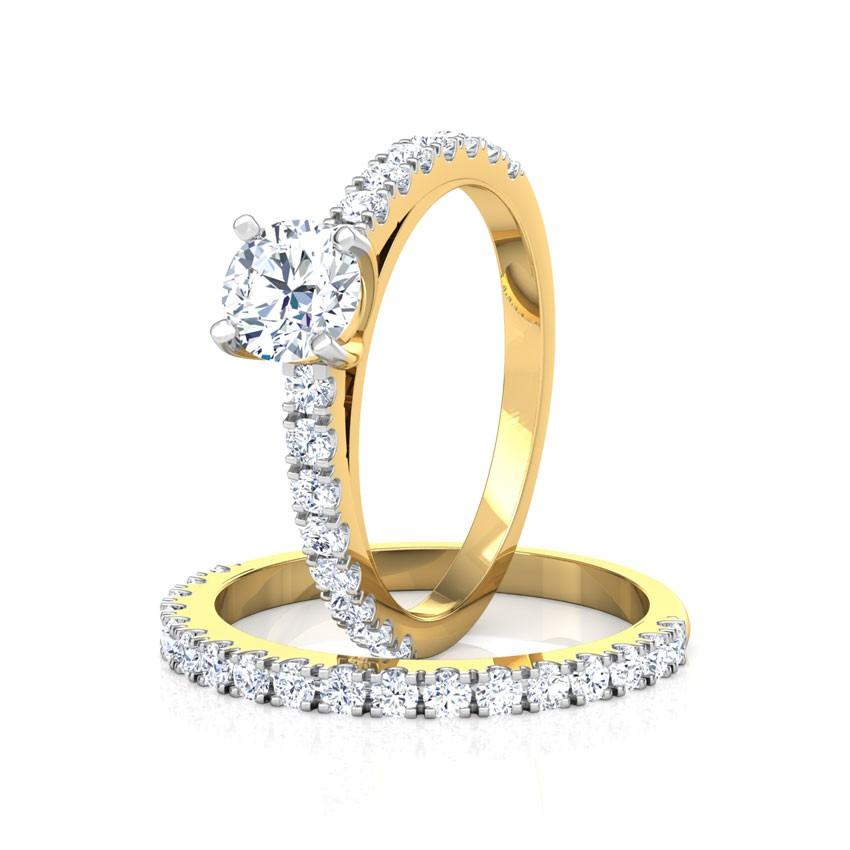 Anel de noivado em ouro 18k  mais aparador com 106 pontos de diamantes - CÓDIGO 3035