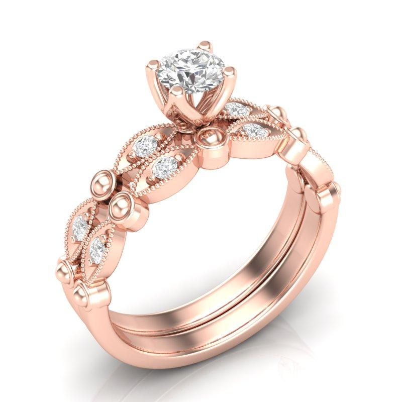 Anel de noivado mais aparador de aliança em ouro 18k  com 55 pontos de diamantes - CÓDIGO 025A