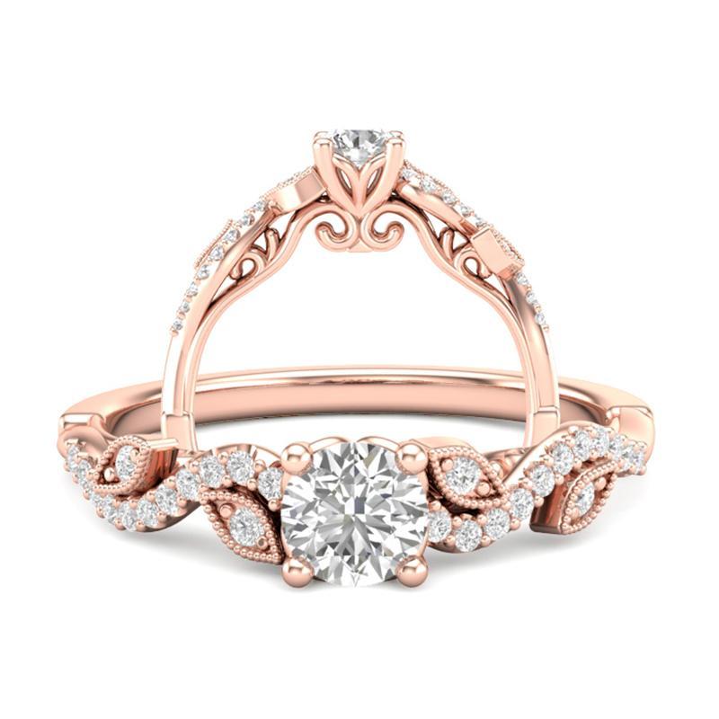 Anel de noivado mais aparador de aliança em ouro 18k  com 66 pontos de diamantes - CÓDIGO 095A