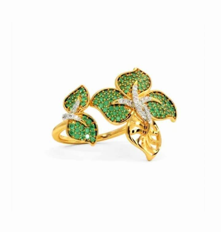 Anel em ouro 18k com diamantes e pedra preciosa esmeralda natural - CÓDIGO 04