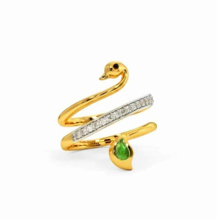 Anel em ouro 18k com diamantes e pedra preciosa esmeralda natural - CÓDIGO 05