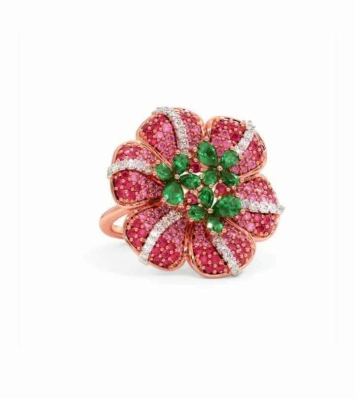 Anel em ouro 18k com diamantes e pedra preciosa rubi e esmeralda natural - CÓDIGO 03
