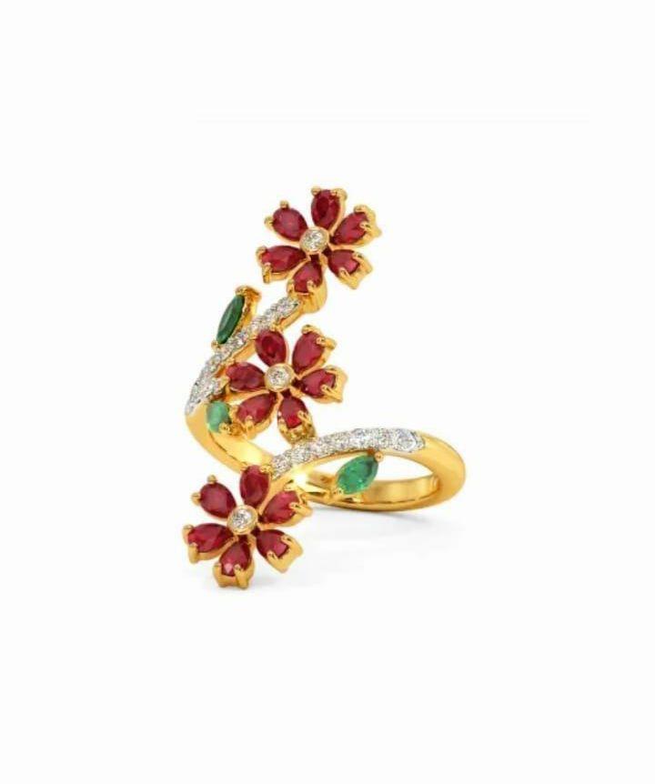 Anel em ouro 18k com diamantes e pedra preciosa rubi natural - CÓDIGO 01