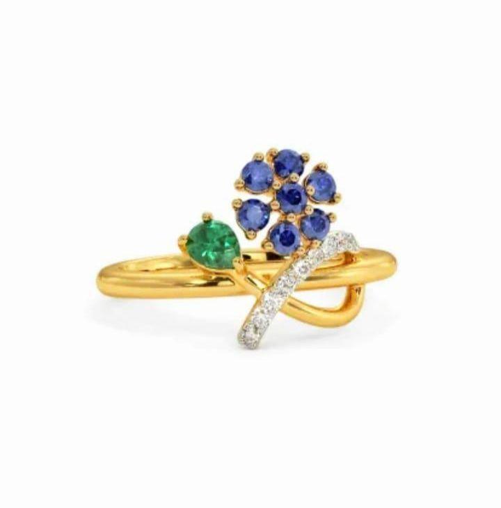 Anel em ouro 18k com diamantes e pedra preciosa safira natural - CÓDIGO 02
