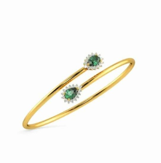 Bracelete em ouro 18k, com esmeralda  e diamantes - CÓDIGO - 06