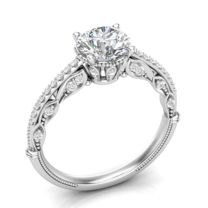 Anel de noivado em ouro 18k  com 93 pontos de diamantes - CÓDIGO 011A