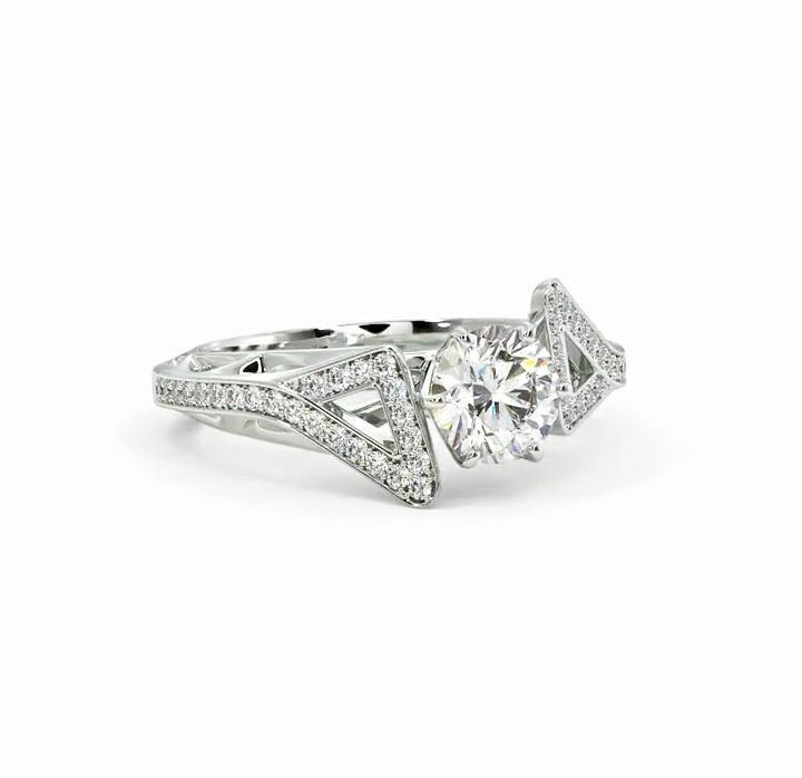 Anel de noivado em ouro 18k  com 1,48 quilate de diamantes - CÓDIGO 033