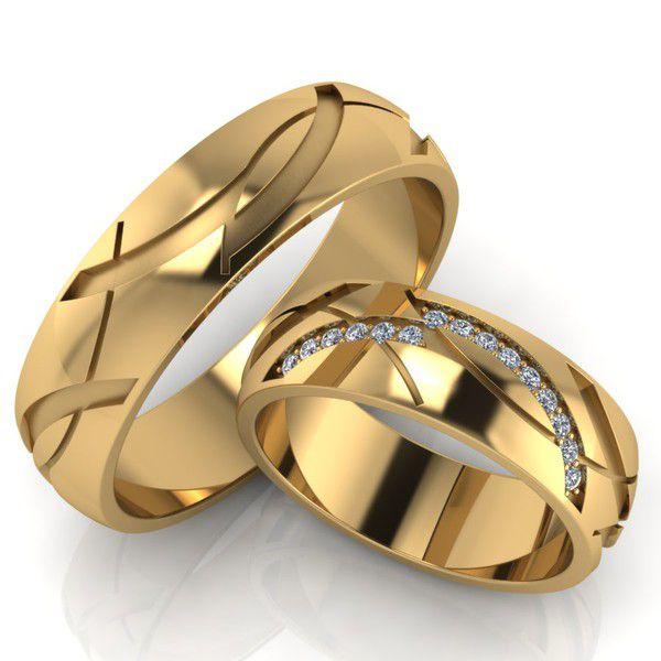 Par de alianças  em ouro 18k e diamantes - CÓDIGO - ALI13