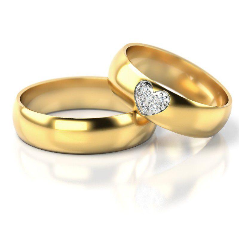Par de alianças  em ouro 18k e diamantes - CÓDIGO - ALI26