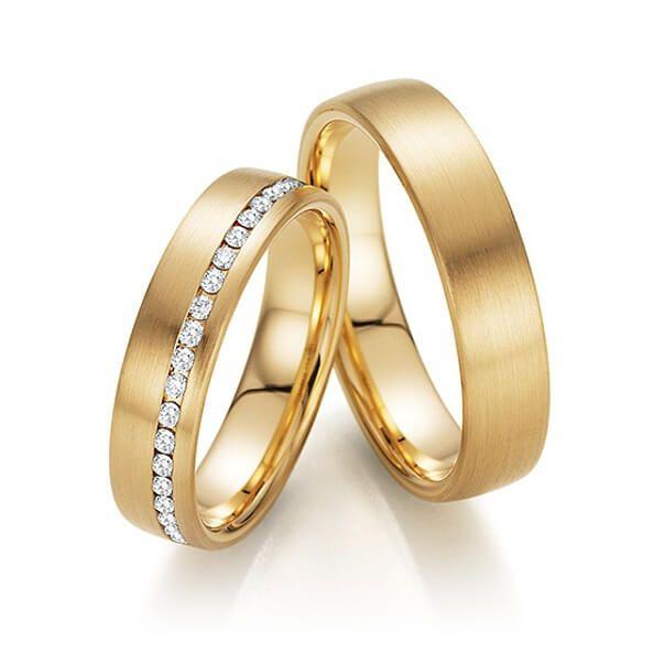 Par de alianças   em ouro 18k e diamantes - CÓDIGO - ALI35