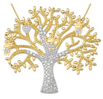 Árvore da vida banhada em ouro 18k 4 pingentes