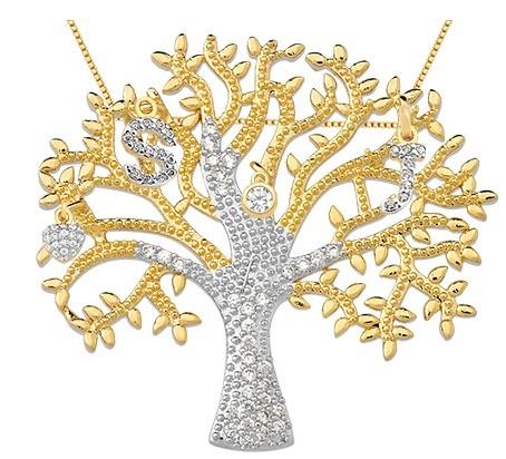 Árvore da vida banhada em ouro 18k 4 pingentes/2
