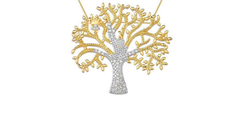Árvore da vida banhada em ouro 18k pingentes menina e coração