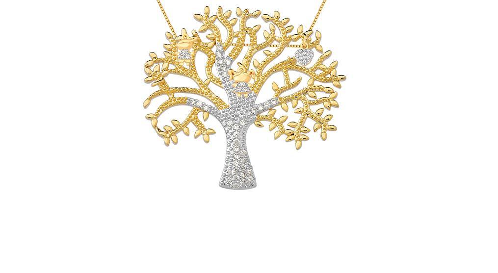 Árvore da vida banhada em ouro 18k pingentes menino,menina e coração