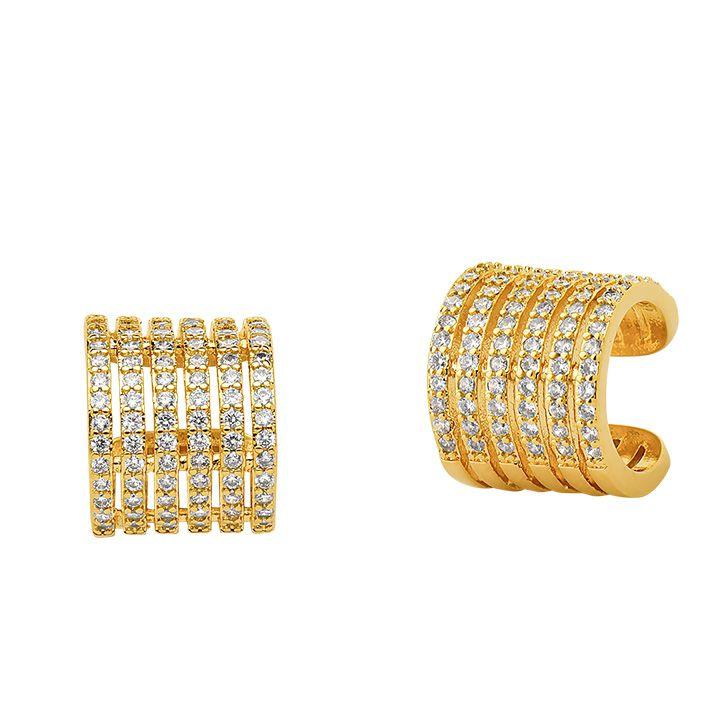 Brinco piercing (unidade) cravejado largo banhado em ouro 18K
