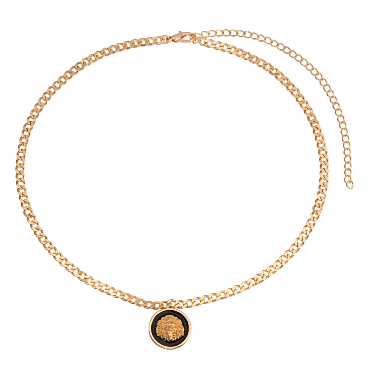 Colar choker banhado em ouro 18k com pingente leão resinado corrente grumet 30cm + extensor