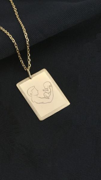 Corrente Cartier banhada em ouro 18k 70cm medalha pai e filho (a) 34mm x 25mm