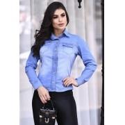 Camisa manga longa Delavê Jeans leve com elastano Modelagem slim