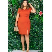Vestido tubinho não amassa laranja moda evangélica