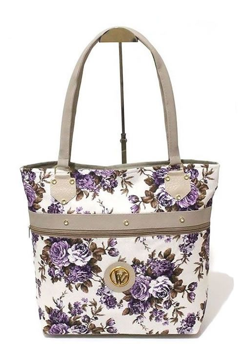 Bolsa de Lona Floral detalhes flores