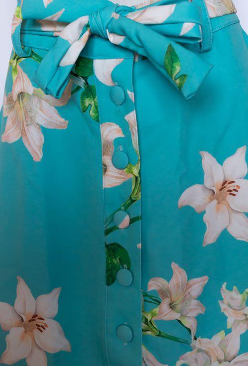 Saia Evasê floral Verde Água